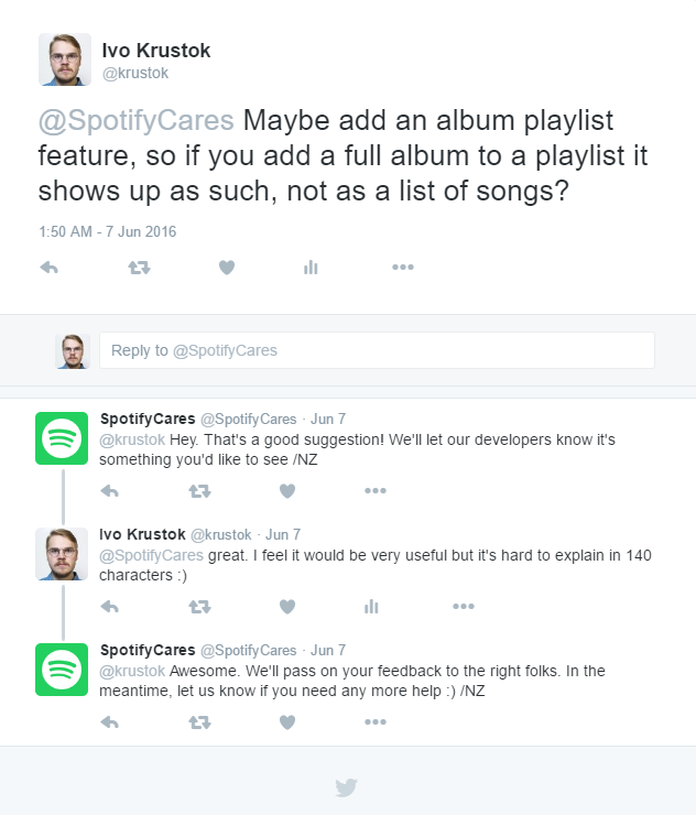 A twitter conversation with Spotify