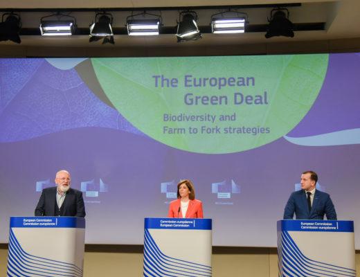 Frans Timmermans, Stella Kyriakides ja Virginijus Sinkevičius, esitlemas elurikkuse strateegiat ja talust taldrikule initsiatiivi
